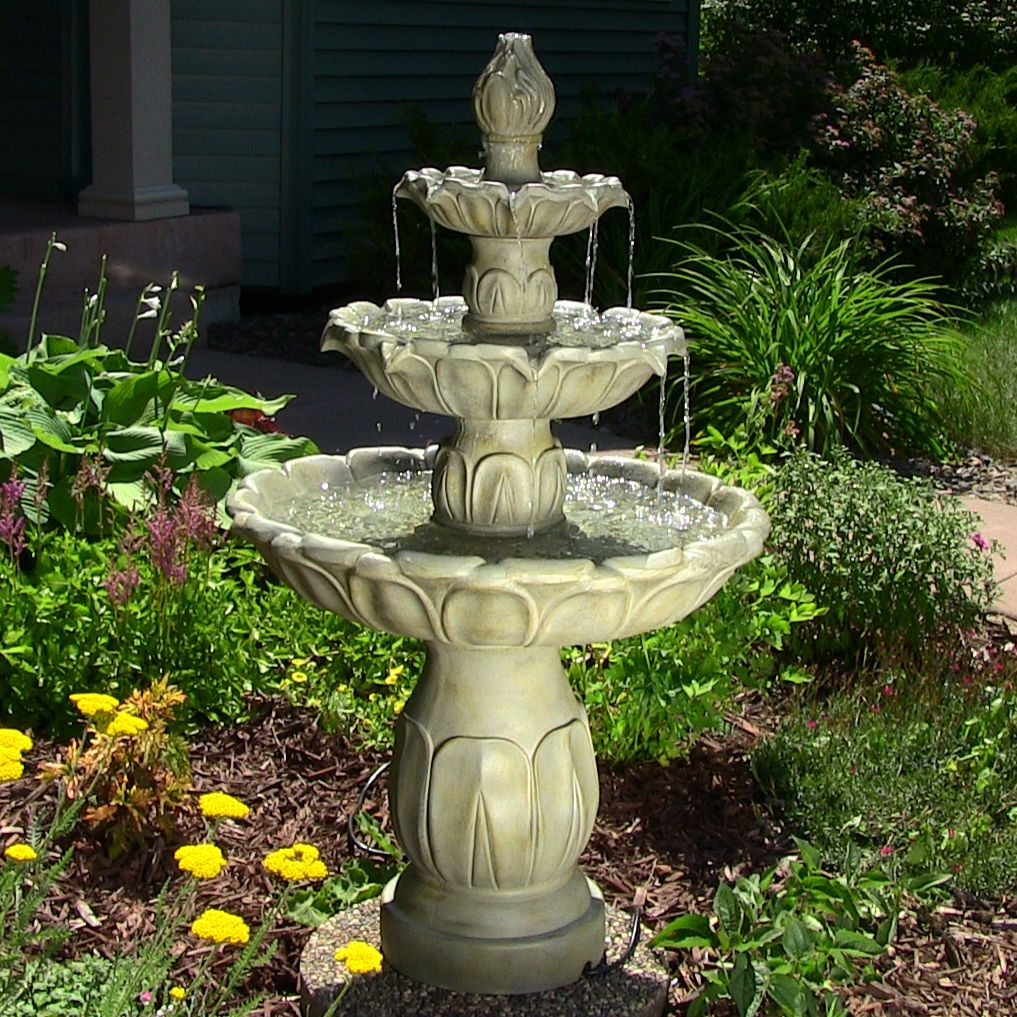 Tiered water fountains outdoor 3 tier fountains for Backyard water fountain ideas