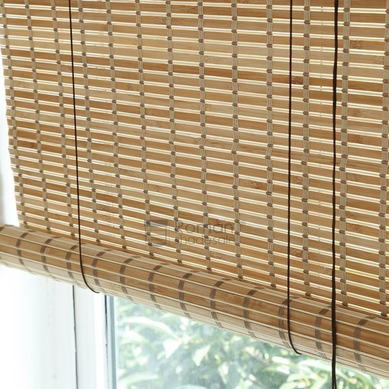 Eco Friendly Light Brown Bamboo Roller Shades With Valance Bamboo Roller Shades Roller Shades Bamboo Window Shades