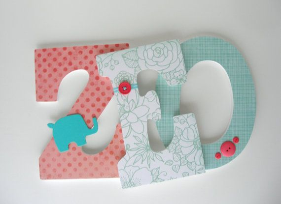 Wooden Wall Letters Coral And Teal Nursery Décor Personalized Baby