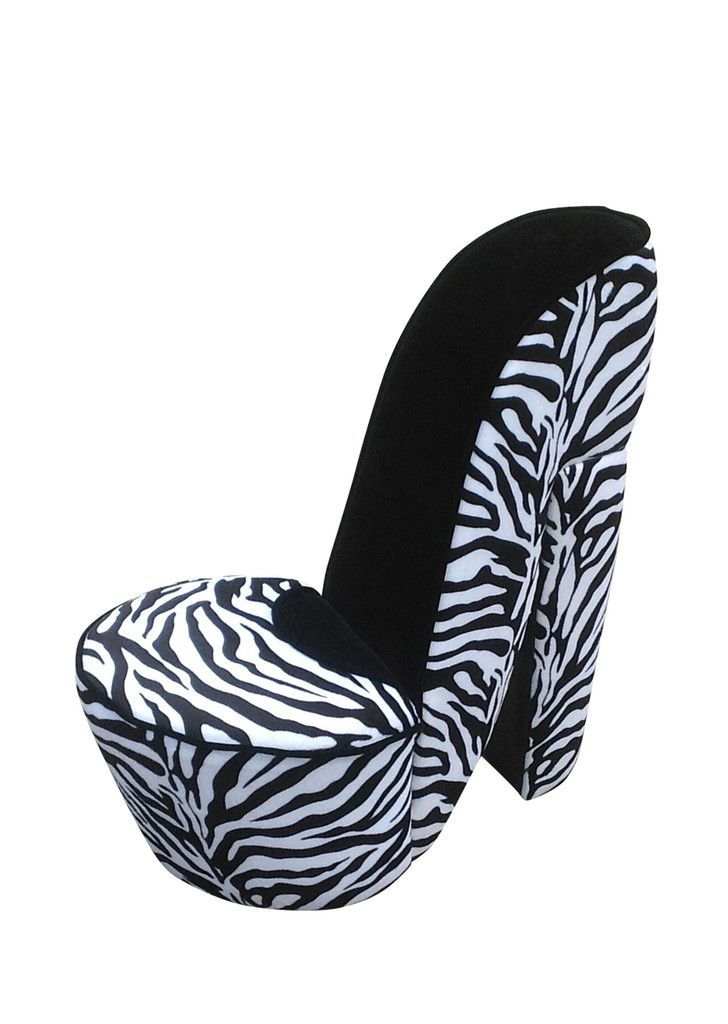 buy small high heel shoe chair with zebra print for sale online in
