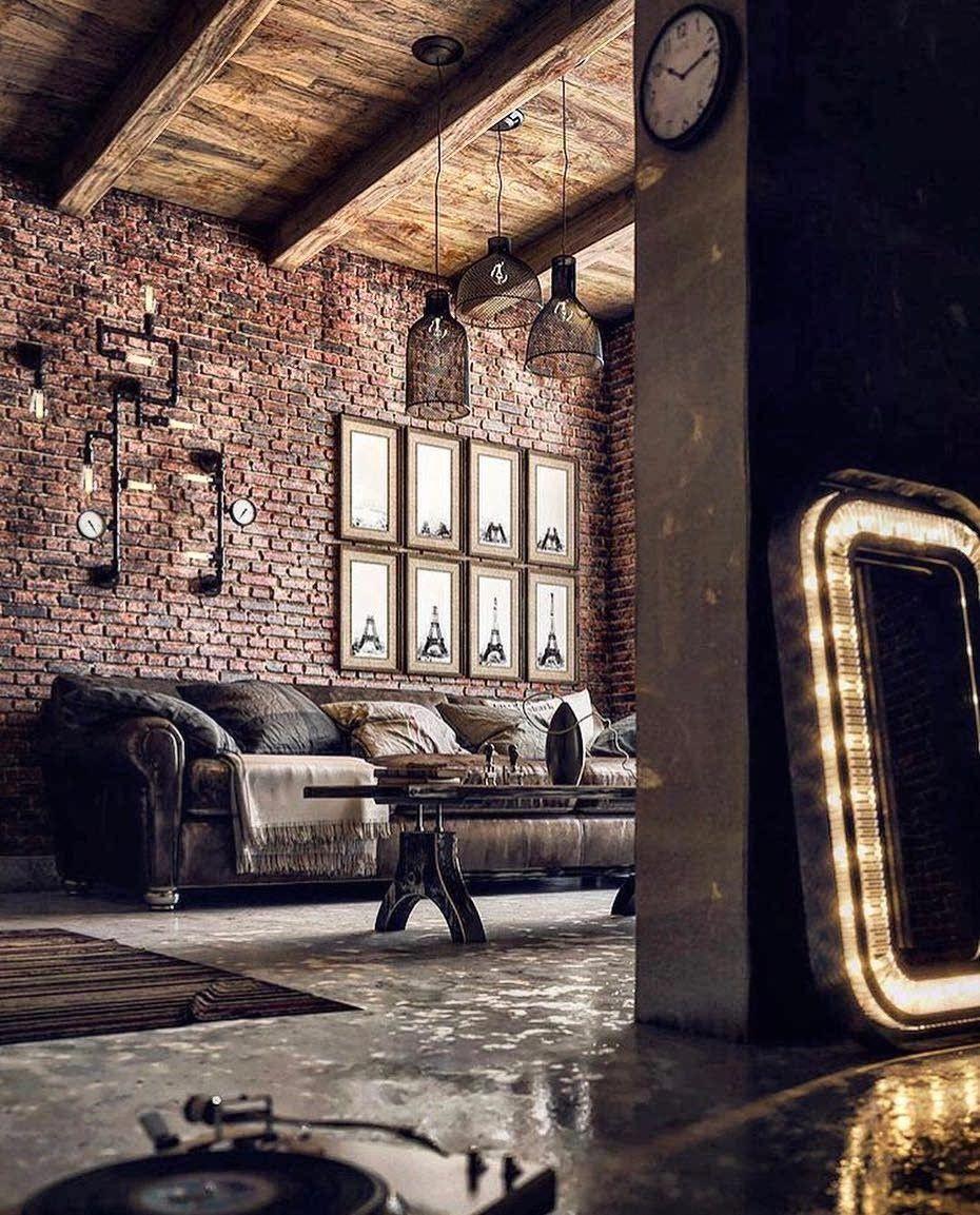 Idée de rénovation de salon avec un style industriel et une déco