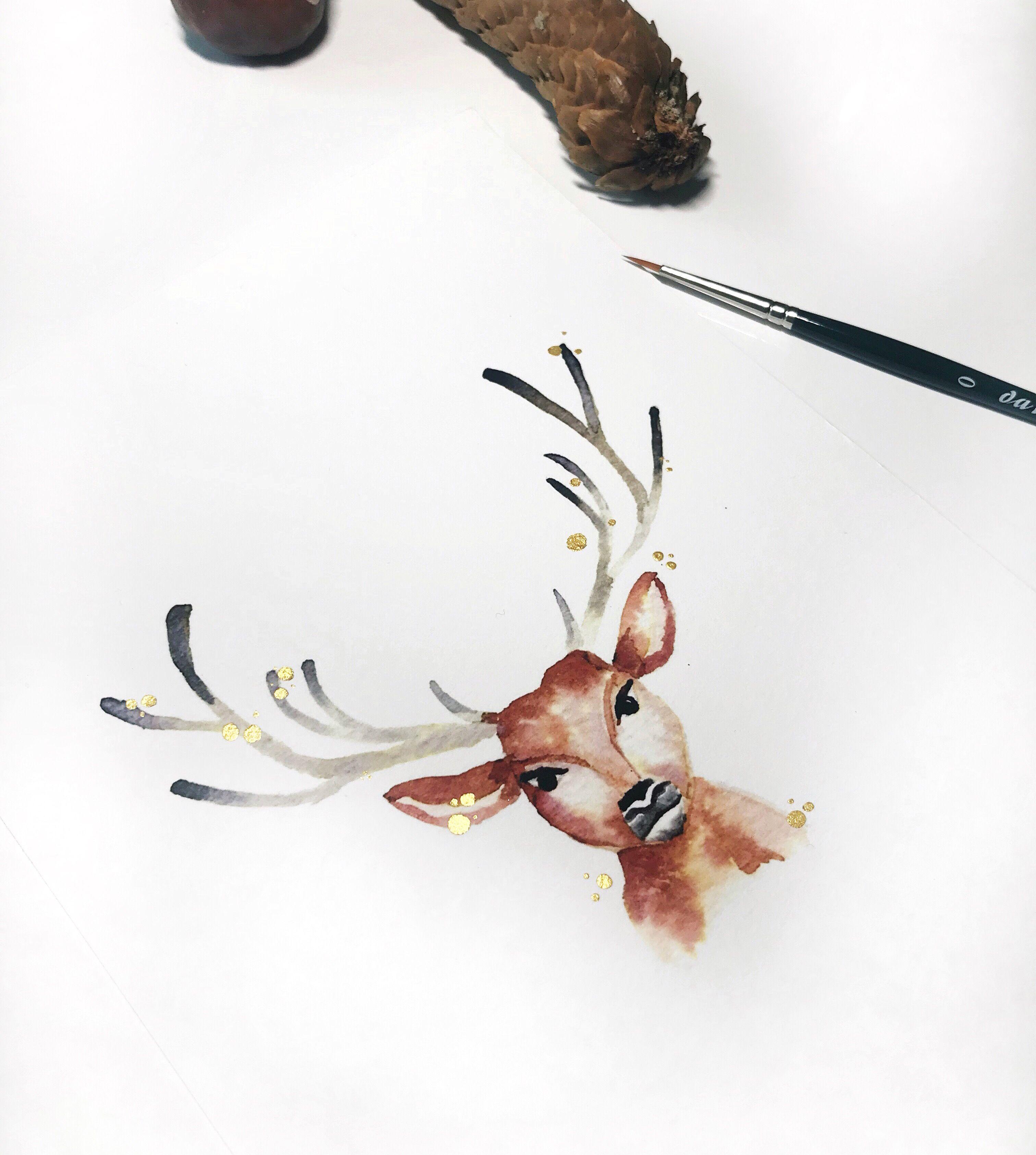 Weihnachtskarten Selber Machen Hirsch Geweih Reh Waldtiere