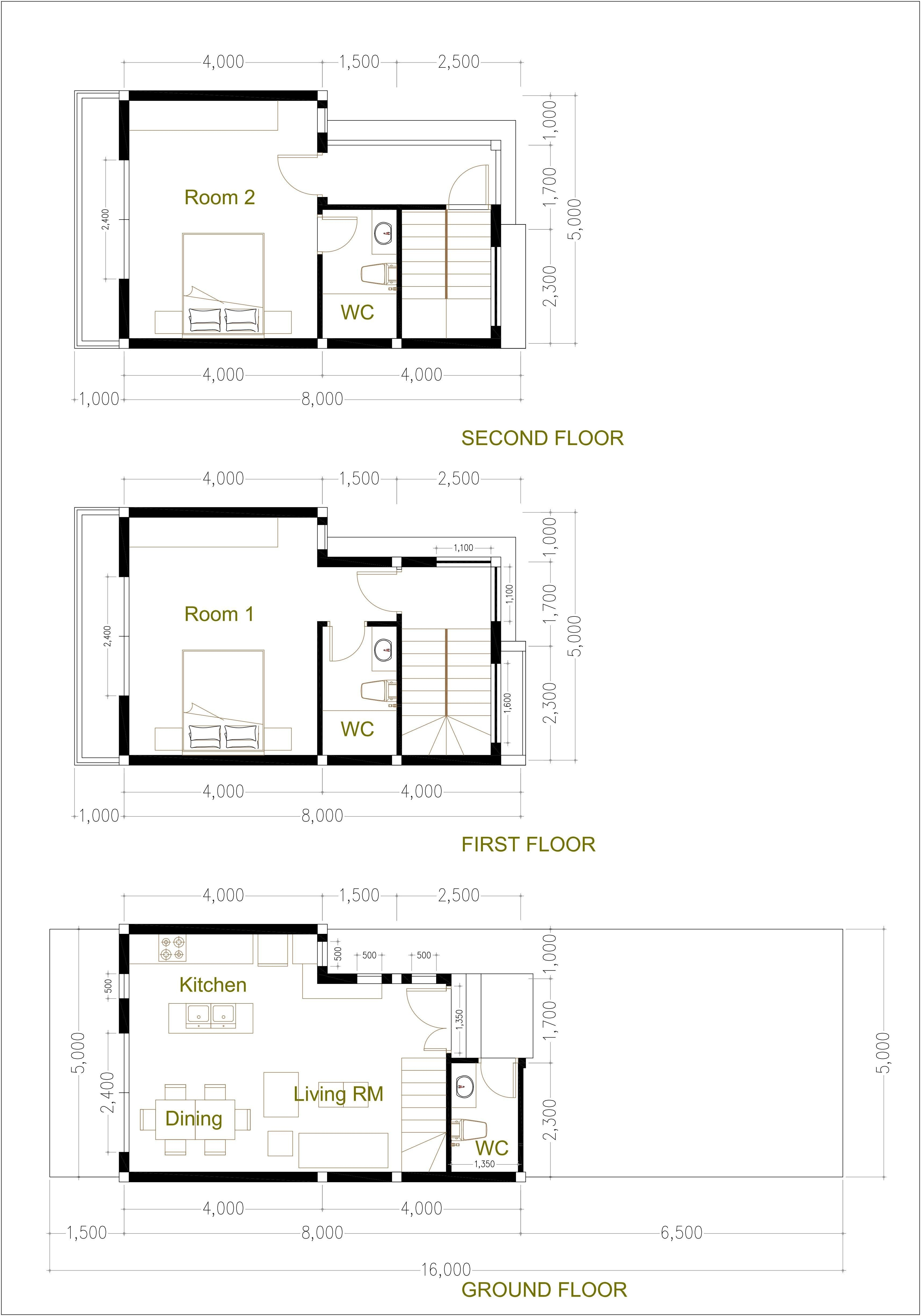 5x8m Bedroom Home Plan Samphoas Tiny Tinyhomesplans2bedroom 2 Bedroom Tiny Home Plan 5x8m Samphoas Plan In 2020 Tiny House Plans House Plans Two Bedroom House
