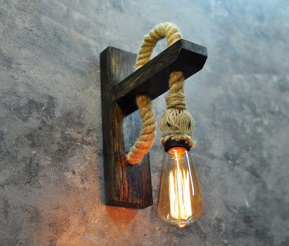 Muur Kandelaar Houten Lamp Met Touw Rustieke Verlichting Houten Hanglamp Inwijdingsfeest Geschenk Edison Lamp Muur Licht Armatuur Industriele Verlichting Rustieke Lampen Rustieke Verlichting Houten Lamp