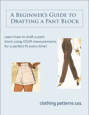 Learn to draft a pant block that fits YOU perfectly! Use your own body measurements to draft a pant block, and make your own sewing patterns.