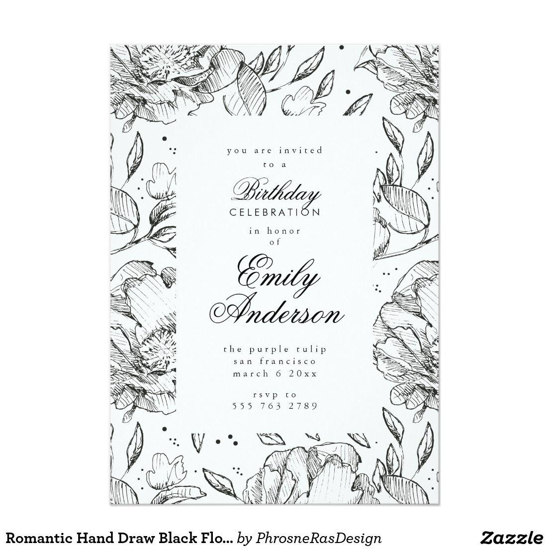 Romantic Hand Draw Black Floral Elegant Invitation #zazzle ...