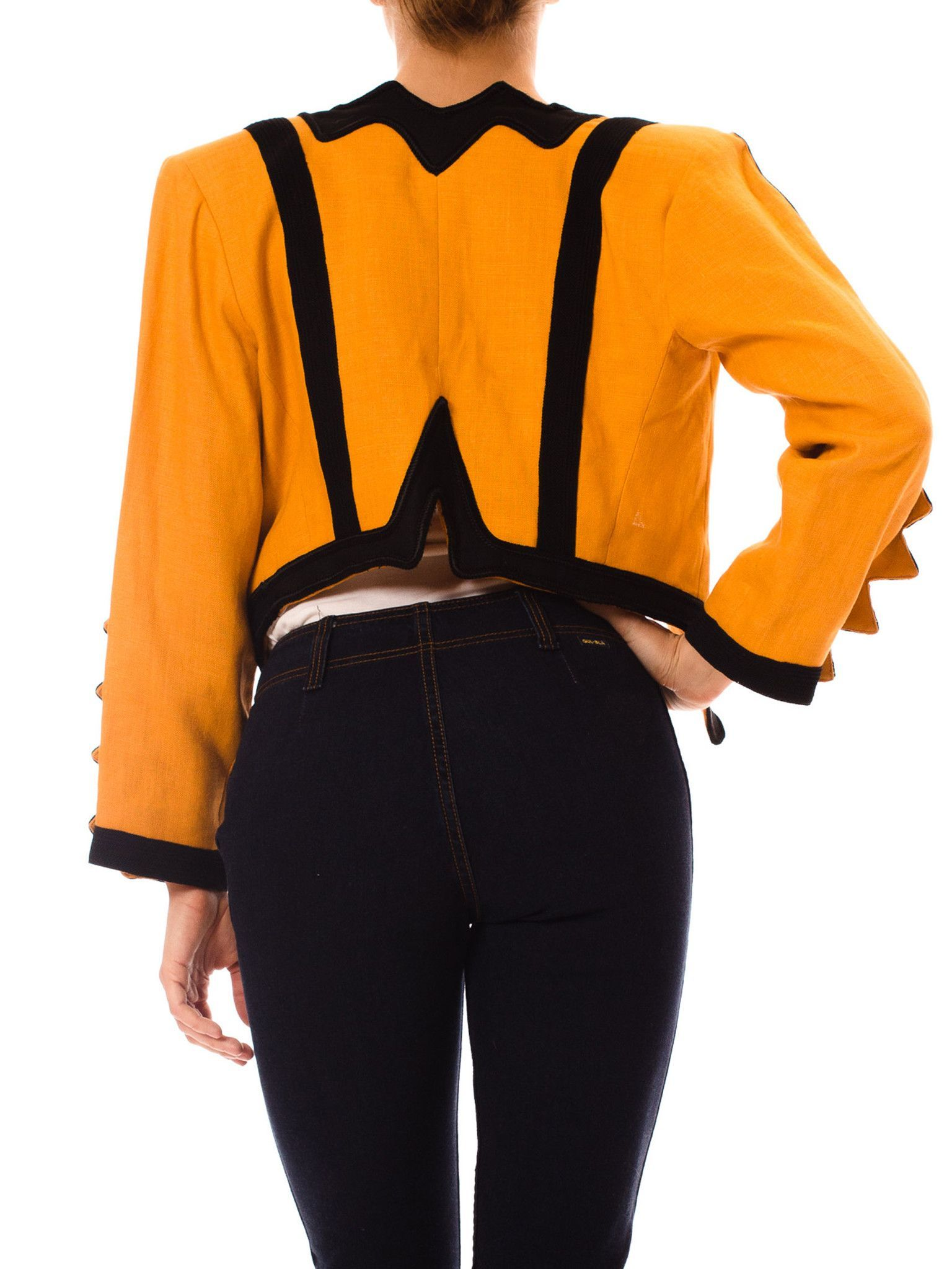 Amazing 1980s Vintage Yves Saint Laurent Yellow and Black Linen Jacket