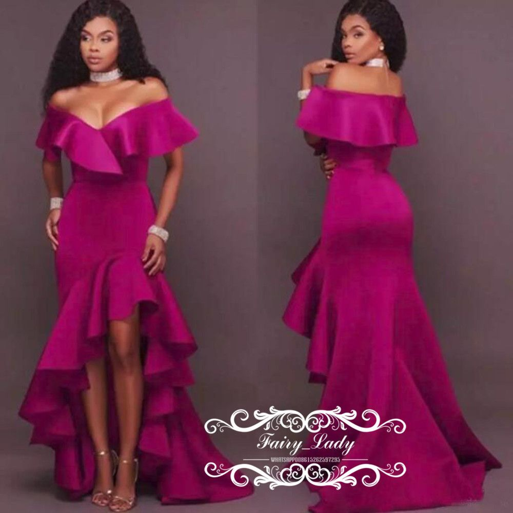 Chic Ruffles High Low Mermaid Bridesmaid Dresses 2018 Sexy Off Shoulder  Stretchy Satin Maid Of Honor Dress Formal Party Gowns 2fa71fd68853