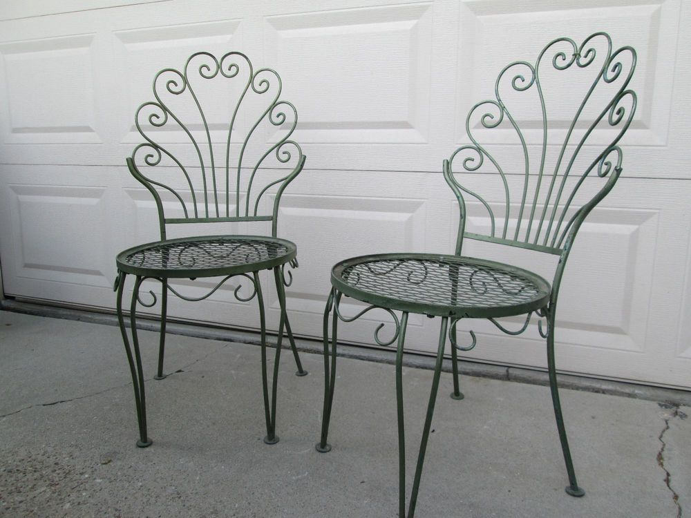 Pair Vintage Wrought Iron Garden Patio Chairs Garden Chairs