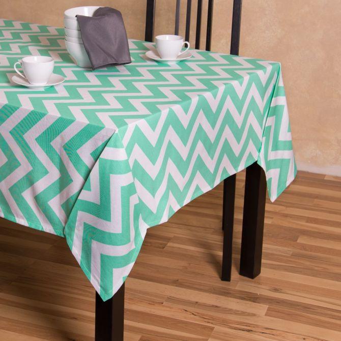 60 X 126 In Chevron Rectangular Cotton Tablecloth Mint White Cotton Tablecloths Table Cloth Table Linens