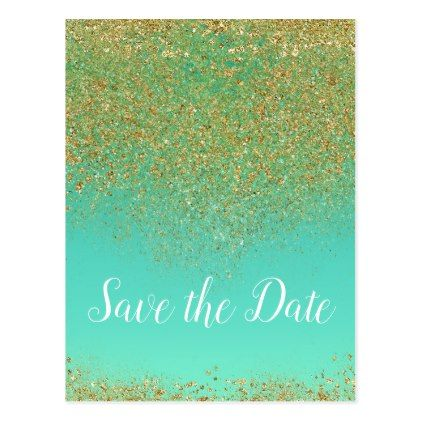 Cascading Gold Glitter Glam Trendy Save the Date Postcard Gold