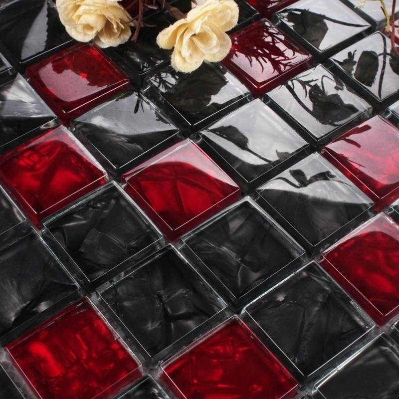 Luxury Black Red Glass Mosaic Tile Kitchen Backsplash Bathroom Shower Bathtube Waistline Wall Glass Mosaic Tile Kitchen Mosaic Tile Kitchen Glass Mosaic Tiles