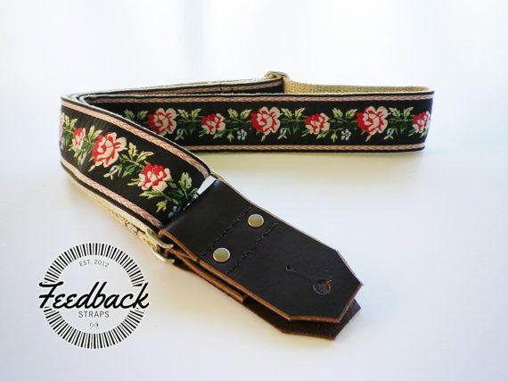Hemp Guitar Strap Western Style Roses Ribbon Sewn Onto Hemp Webbing Vintage Style Guitar Strap For A Guitar Strap Handmade Guitar Strap Hand Tooled Leather