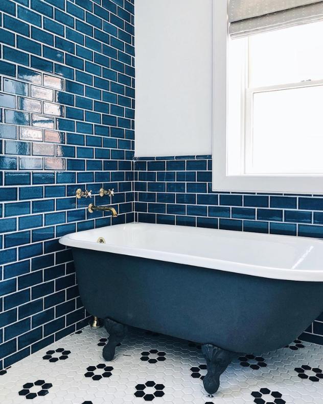 35 Blue Bathroom Ideas Light Blue Bathrooms Blue And White Bathrooms In 2020 Blue Bathroom Tile Bathroom Wall Tile White Tile Floor
