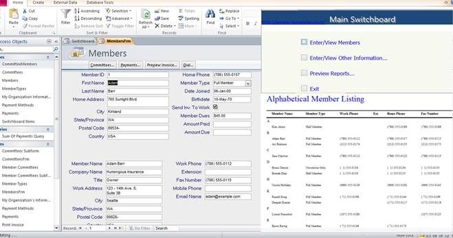 Access Database Membership Tracking Templates Examples  Access