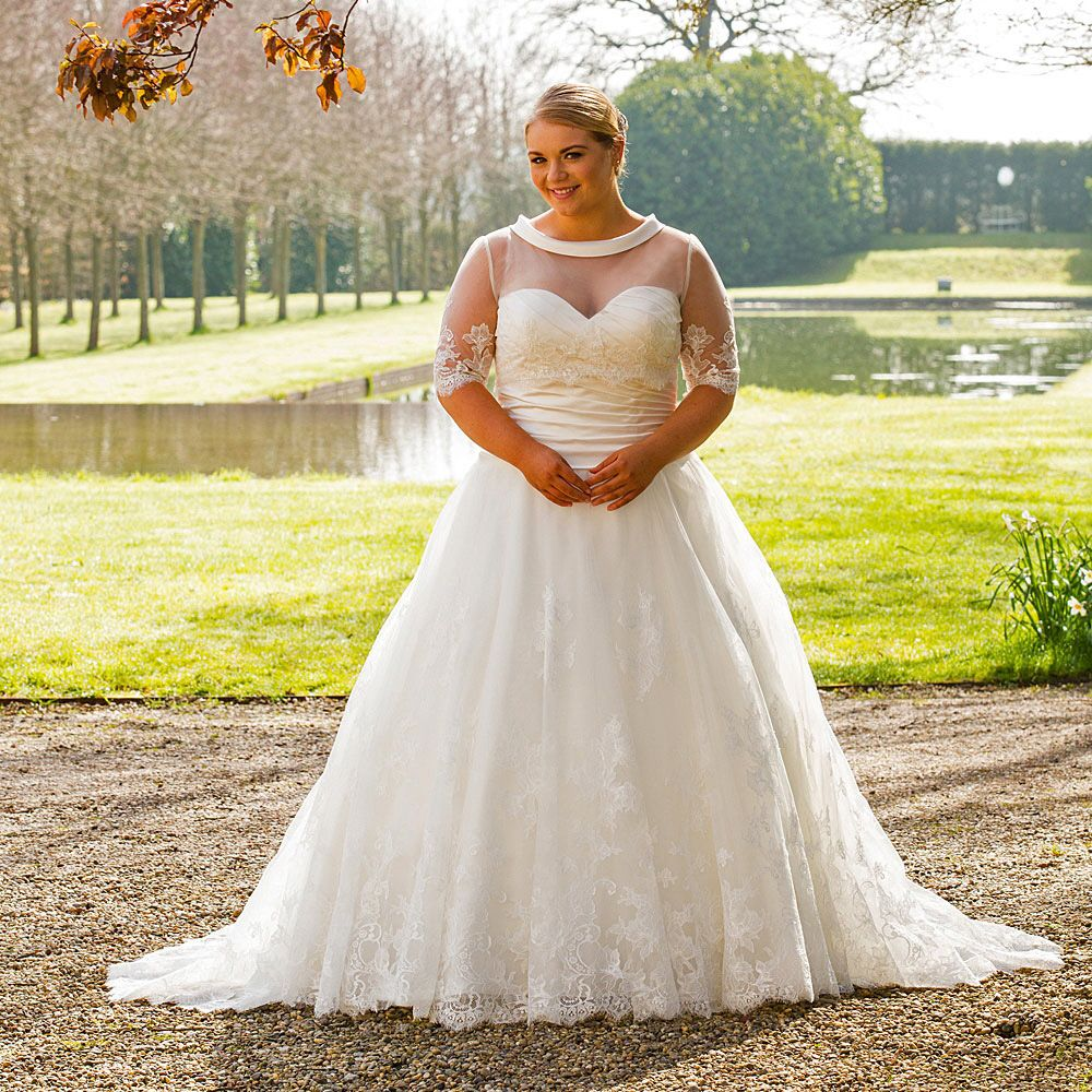 Custom Made Plus Size Wedding Dresses With Lace Removable Jacket