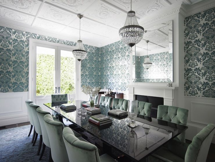 Incredible Dining Room With Teal Damask Wallpaper Over White