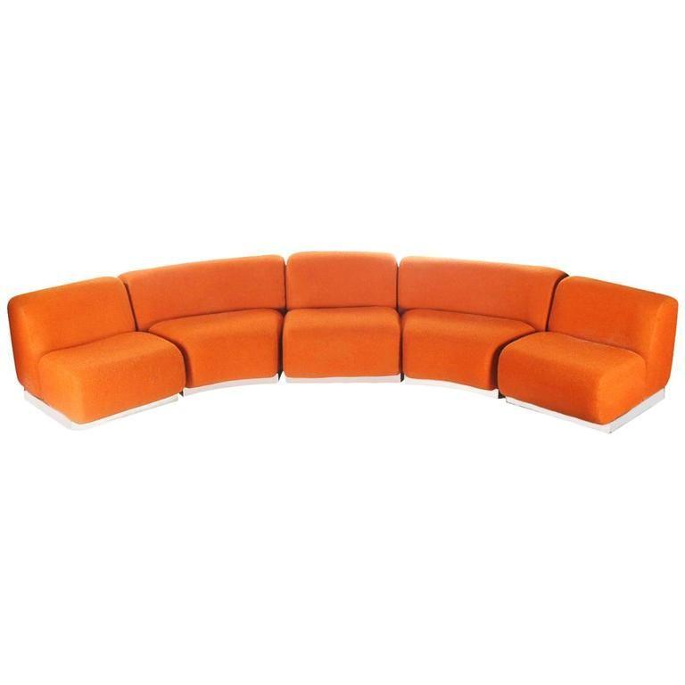 Curved Or Circular Mid Century Modern Modular Sofa With Chrome