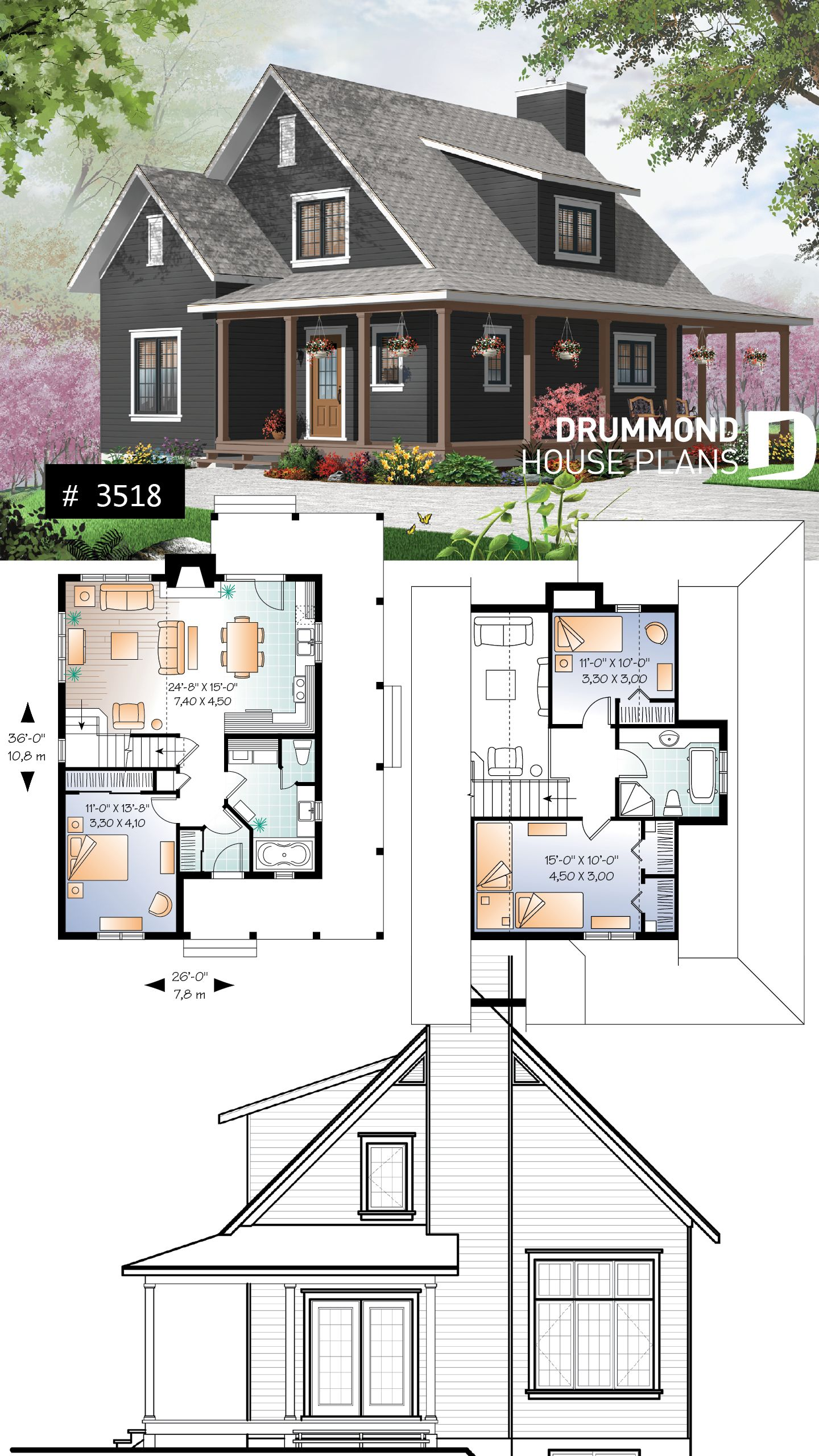 Discover The Plan 3518 Hickory Lane Which Will Please You For Its 3 Bedrooms And For Its Farmhouse Styles Cottage House Plans House Plans Farmhouse Cottage Plan