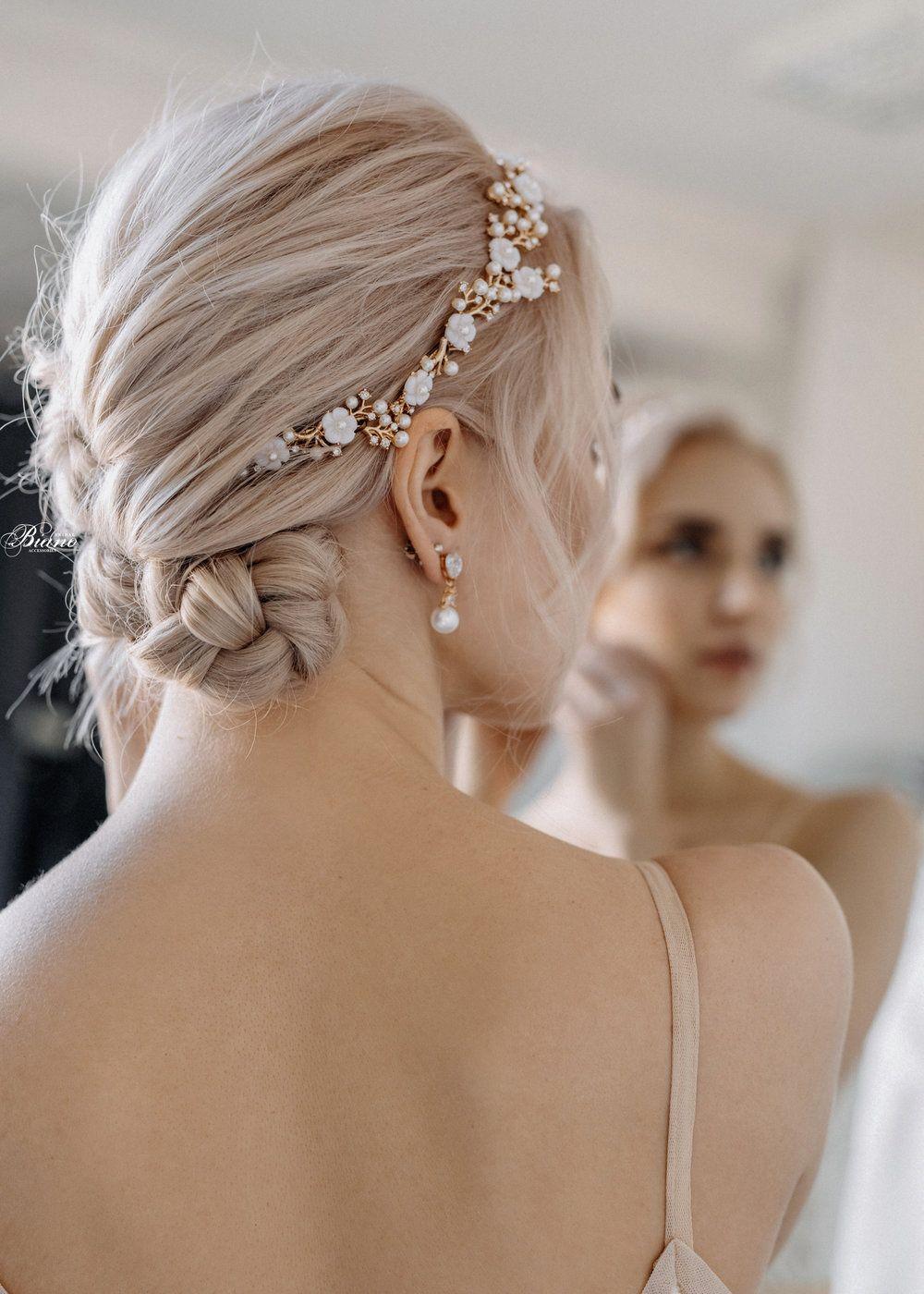 Bridal Headband Half Down Wedding Headband Updo Wedding Headband With Veil Wedding Hea Updo With Headband Gold Headpiece Wedding Bridesmaid Hair Accessories