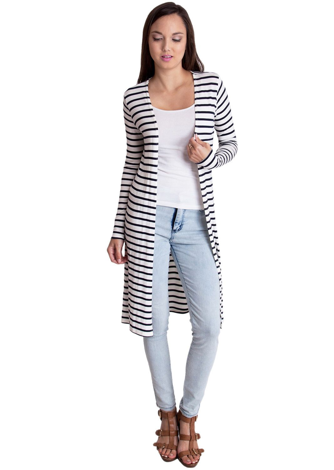 Side Slit Striped Maxi Cardigan T0118101NBOFF, clothing, clothes ...