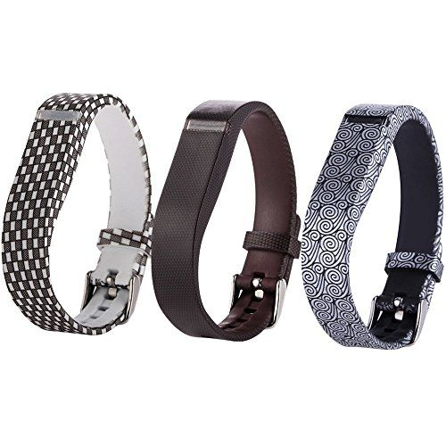 Moretek Sport Fitness Watch Replacemment Strap for Fitbit Flex Wristband with Chrome Clasp Accessory Gridyunbrowntriangle 3 *** Click image for more details.