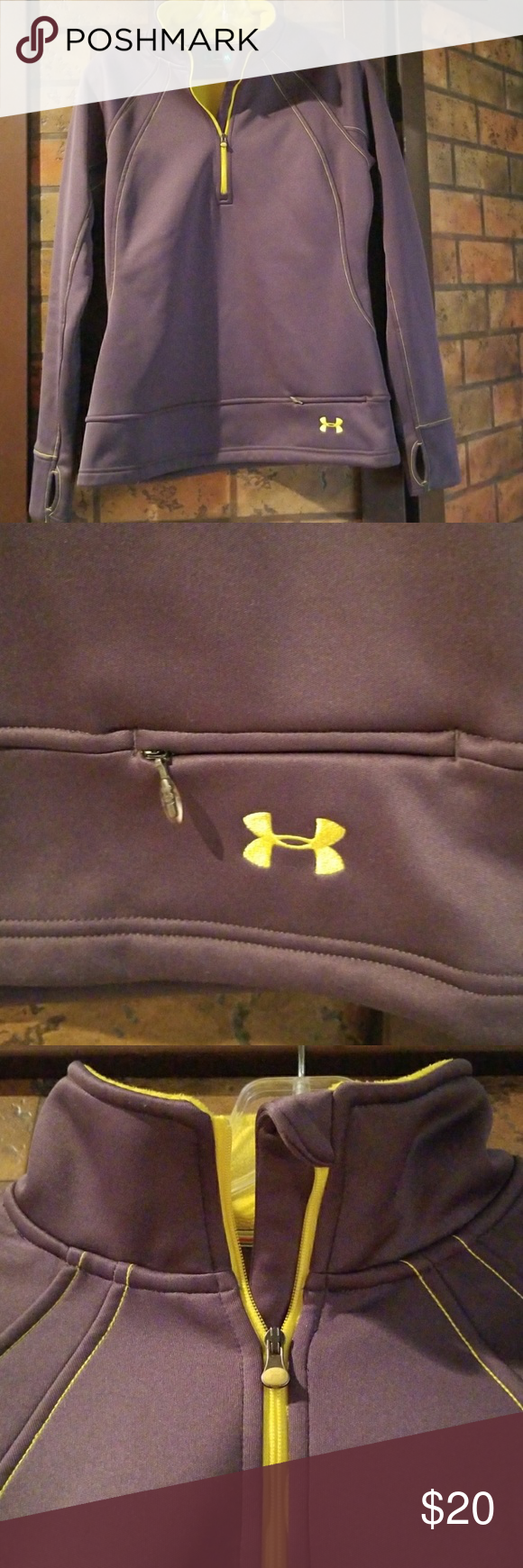 🔥PRICE ⬇️🔥 Women's Under Armour Semi Fitted Half Zip in a really nice dark grey with yellow stitching.  In excellent pre loved condition. ❤ Under Armour Tops Sweatshirts & Hoodies