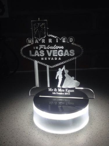 Personalised Wedding Mr And Mrs Las Vegas Lights Cake Topper Led Base Included