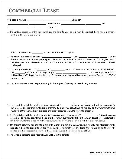 Printable Sample Commercial Lease Agreement Form Real Estate - lease agreement form