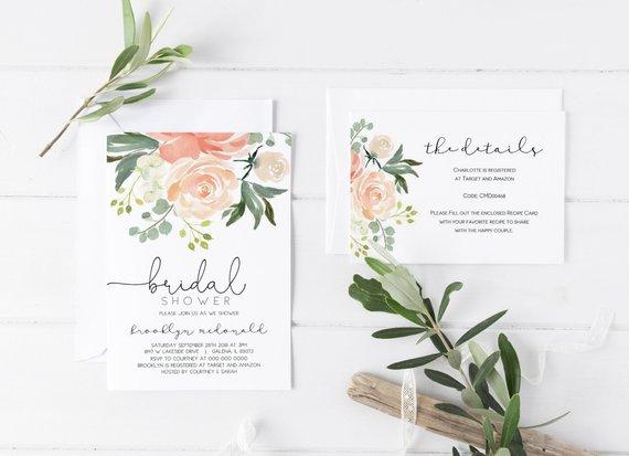 Peach Fl Bridal Shower Invitation Details Card Set