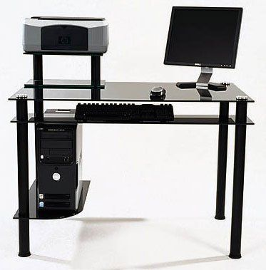 Glass Computer Desk Tempered Black 29 25 Quot H X 42 5 Quot W