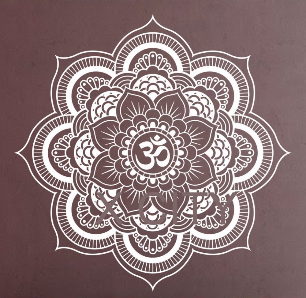Pinturas Murais Grande Decalque Da Parede Do Vinil Da Mandala Yoga - Pinturas-de-mandalas