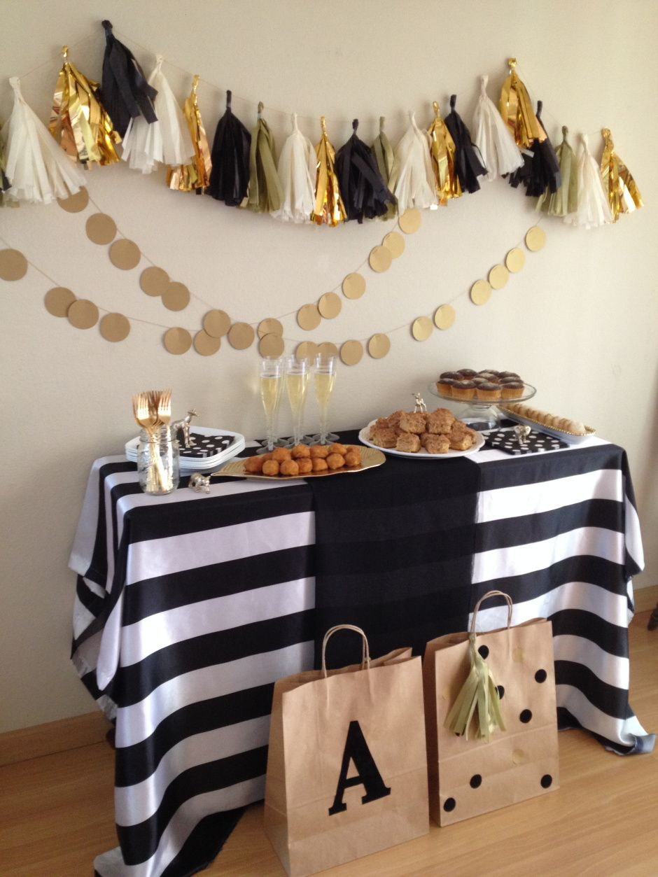 Black white gold party gold party black white gold for White party decoration ideas