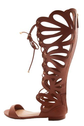 be90b1c82a4c2c Flat brown gladiator sandals Breckelles Women s SOLO-15 Faux Leather Cut  Out Tall Gladiator Sandals