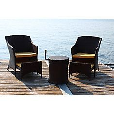 5 Piece Bistro Set With Yellow Cushions