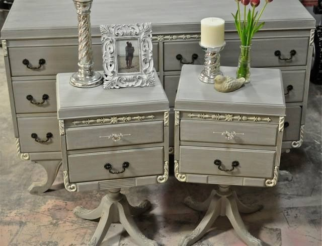 old french linen | French Linen Dresser and Nightstands Glazed with Old Ochre and ...