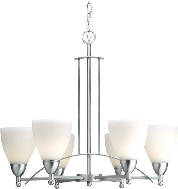 Forte Lighting 2231 06 Asian Themed 6 Light Up Chandelier Brushed Nickel Indoor