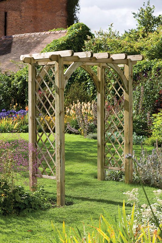 Ultima Pergola Arch Lattice Panels Are Perfect For Climbing Plants On This Attractive Chunky