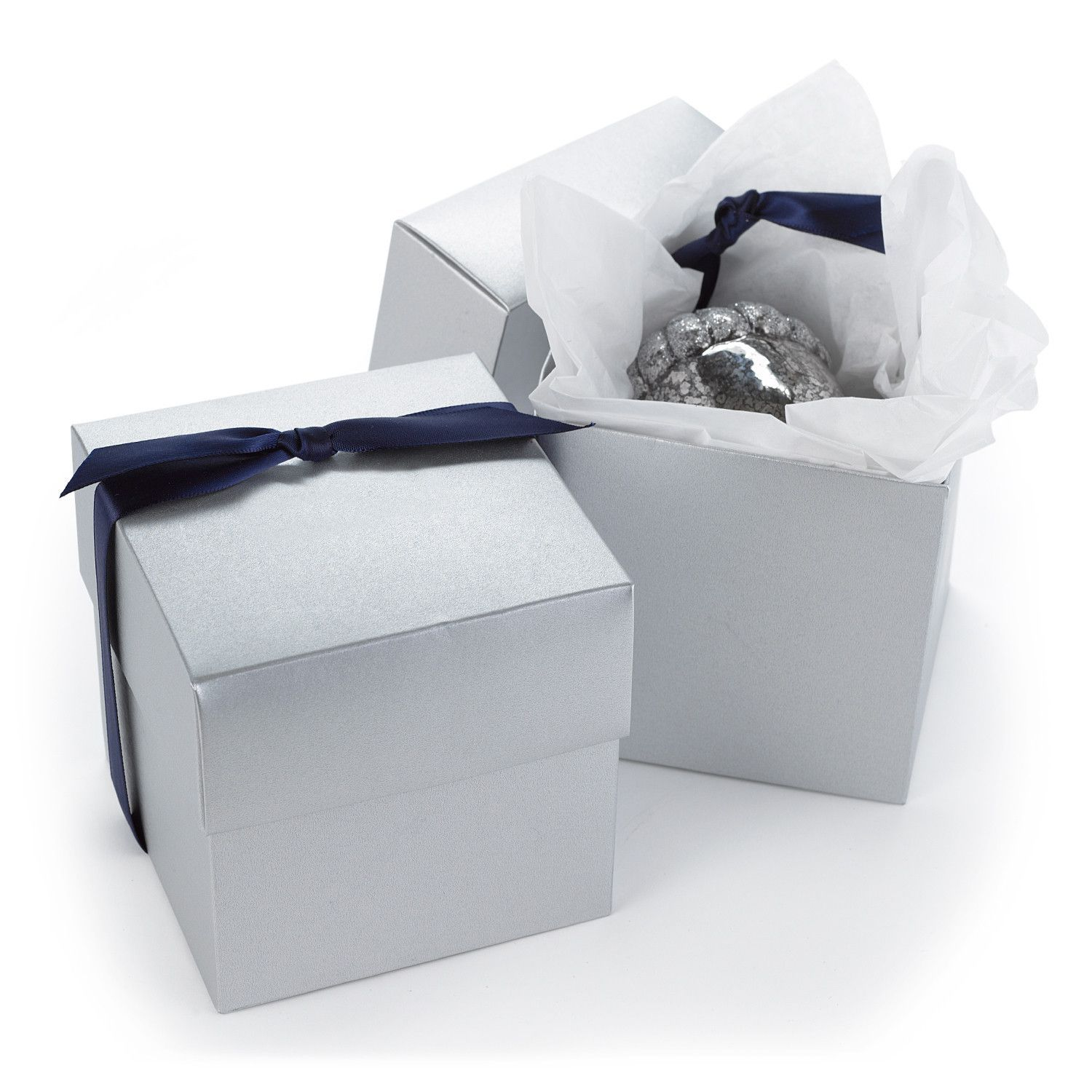 Two-Piece Cupcake Box - Silver Shimmer (Set of 25). Big enough to ...
