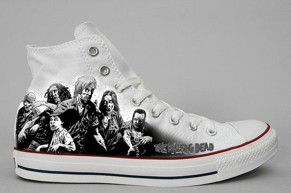 pictures of walking dead sneakers | top Painted Canvas