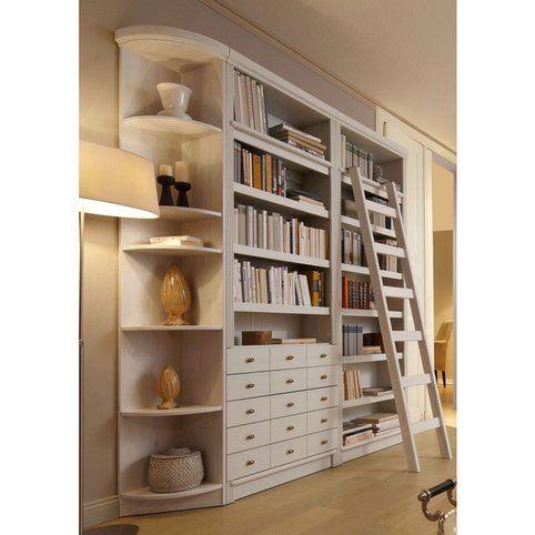 Bibliothèque 5 niveaux + 5 tiroirs en pin massif style anglais Home ...