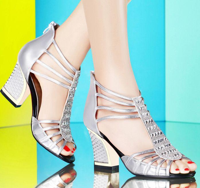 Pas cher chaude nouveau 2014 sandales d été chaussures femmes de luxe  diamants talons hauts 62f9dcc8c9b