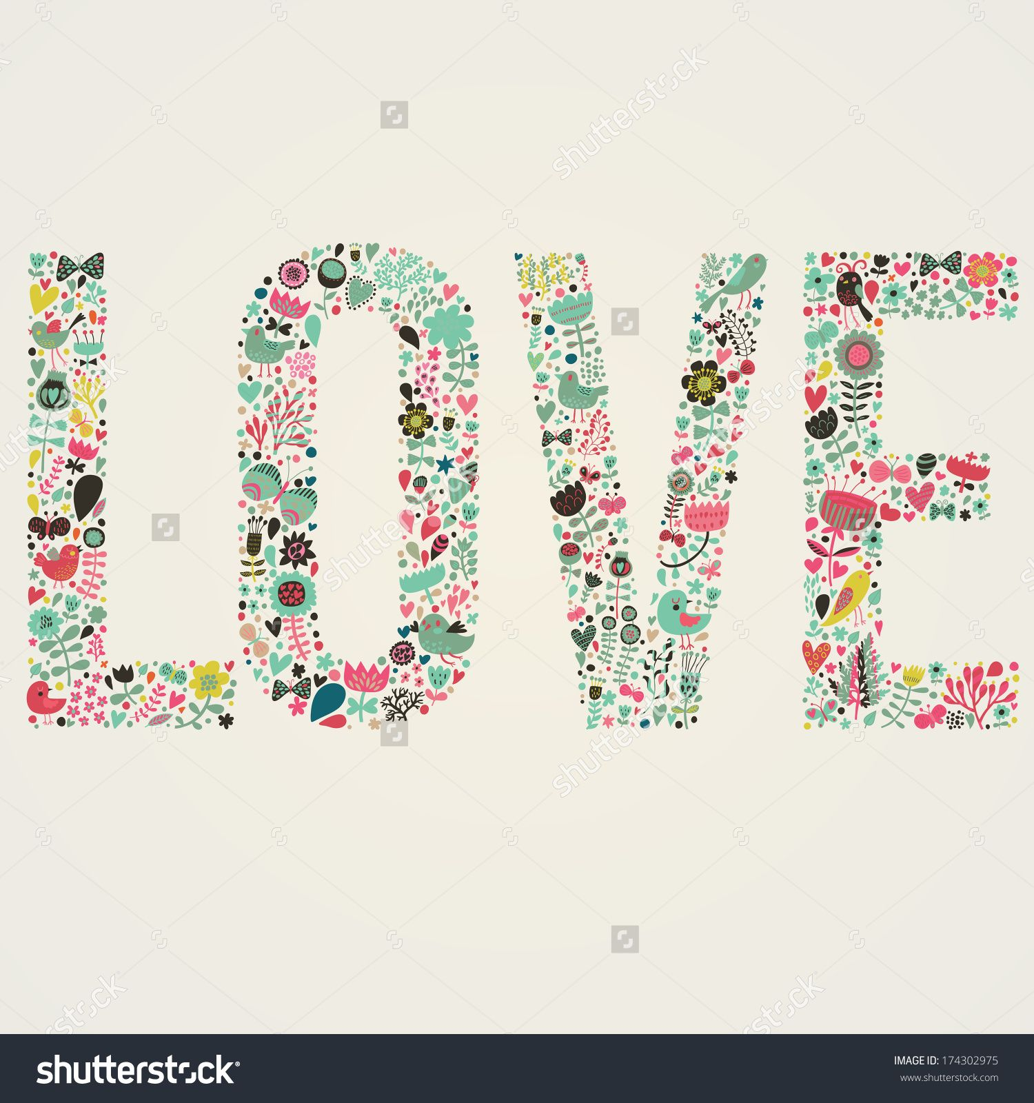 Stylish floral card Love word made of flowers birds and leafs