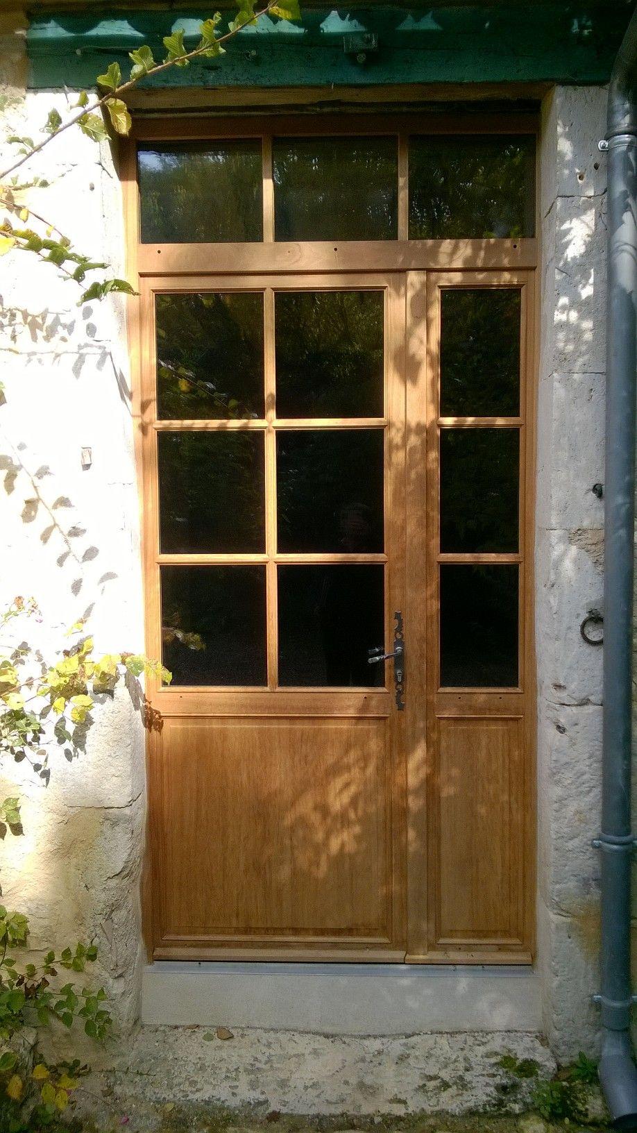 Porte fen tre tierc avec imposte vitr e partie haute vitr e soubassement panneaux pour - Porte appartement bois ...