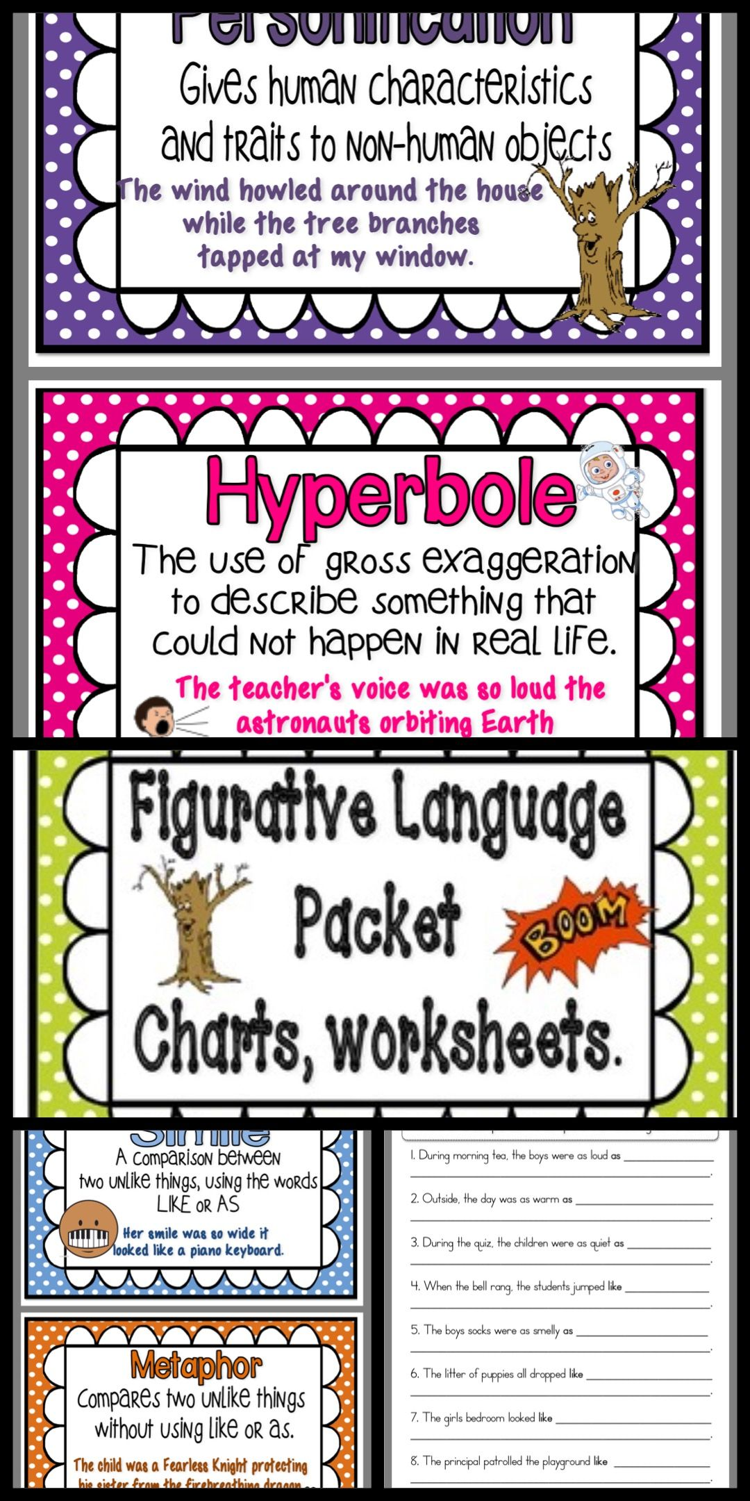 Figurative Language Poetic Devices Posters And Worksheets