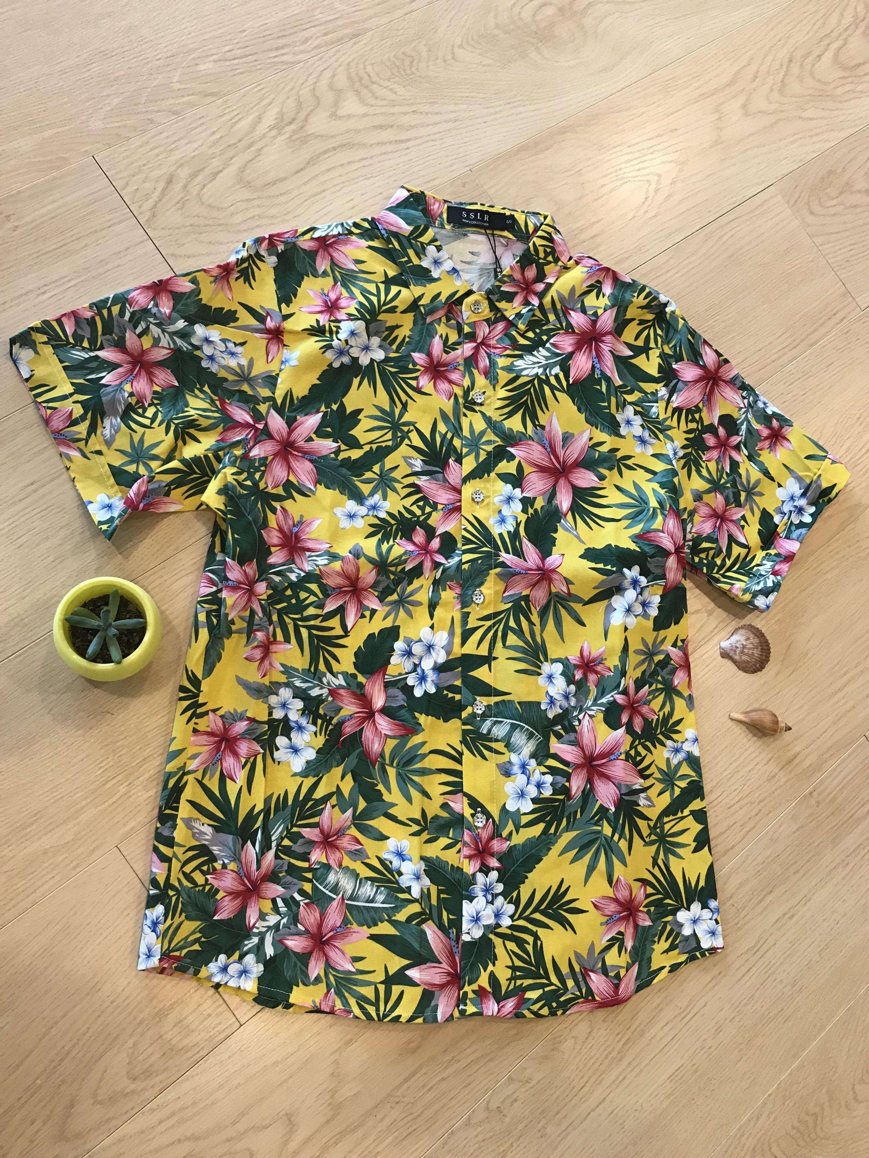 841337500 Bright yellow with flower and leaf print Hawaiian shirt #tropical shirt # Aloha party shirt