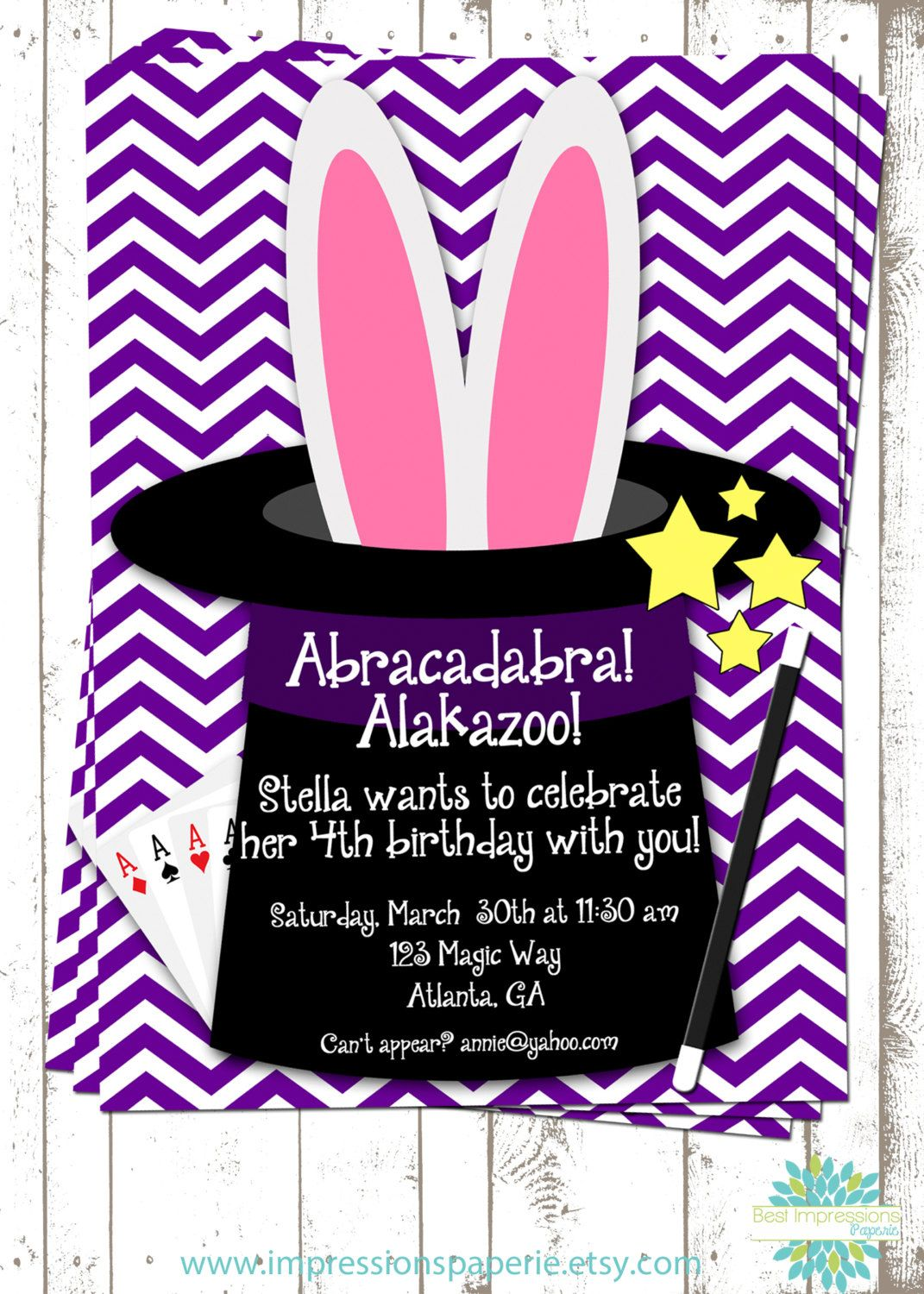Magic Show - A Customizable BIrthday Party Invitation by ...