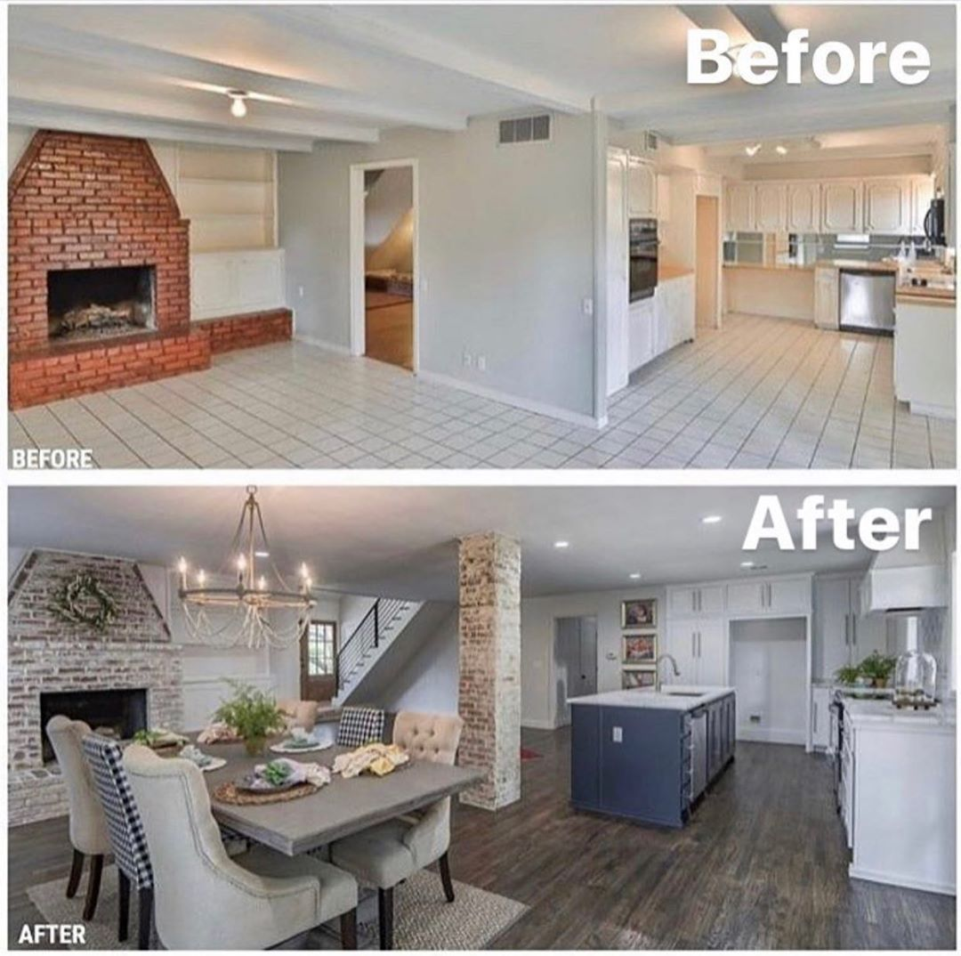 """HOUSES GRAM on Instagram: """"We love this before and after example... what do you think? • Follow @housesgram for more ideas 🤔 • Apparently hardwood floors is the best…"""""""
