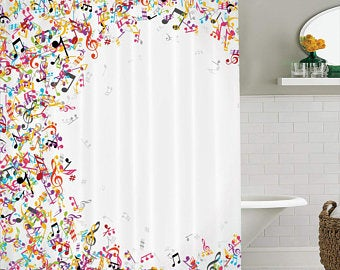 Musical Note Shower Curtain Hooks Etsy Shower Curtain Wall Art
