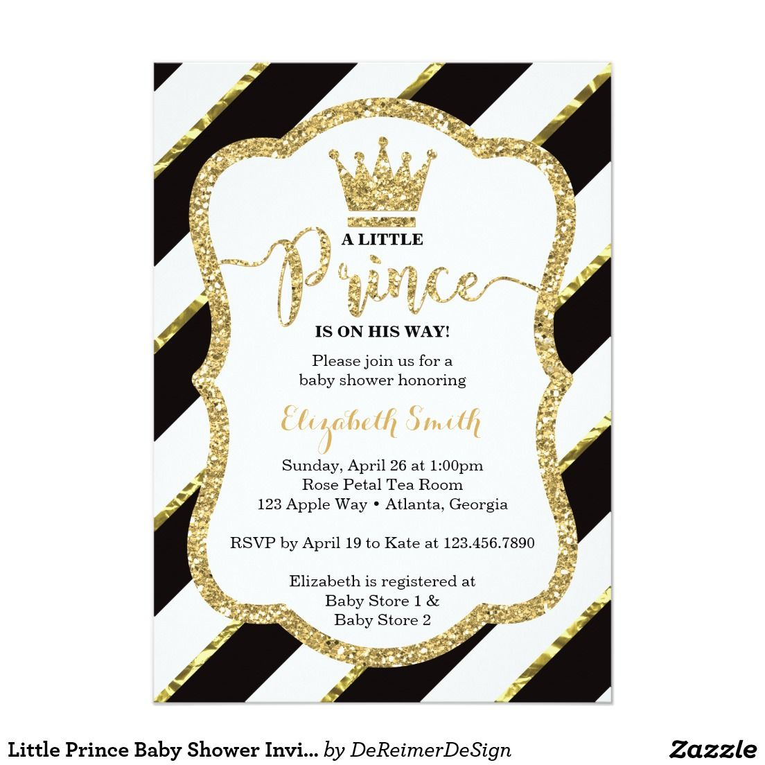 Little Prince Baby Shower Invitation, Black, Gold Card | Mom and ...